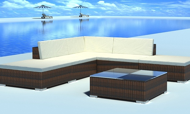 vidaxl polyrattan sitzgruppe groupon goods. Black Bedroom Furniture Sets. Home Design Ideas