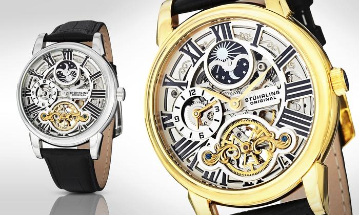 Stuhrling Original Men's Stainless Steel Automatic Skeleton Watch: Stuhrling Original Men's Stainless Steel Automatic Skeleton Watch
