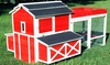 Red Barn Chicken Coop with Rooftop Planter: Red Barn Chicken Coop with Rooftop Planter