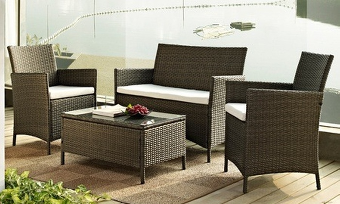 Groupon Goods Global GmbH: Rattan-Effect Garden Furniture Set in Black or Brown for £199.99, Free Delivery (67% Off)