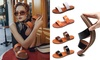 Leather Slip-On Flat Sandals