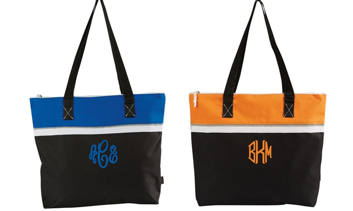 Embellish Accessories and Gifts: One or Two Monogrammed Color-Block Totes with Eight Color Options from Embellish Accessories and Gifts (Up to 53% Off)