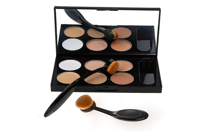 DirtyGirlCosmetics Conceal and Contour Palette with Oval Application Brush