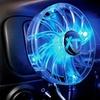 Black 12V Fan with Blue LED Lights