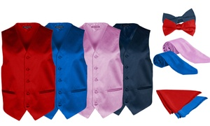 Alberto Cardinali Men's Vest, Tie, Bow Tie & Pocket Square Set (4-Pc)