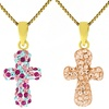 Kids' 14KT Gold Cross Pendant with Crystals