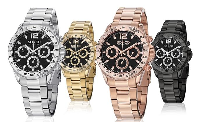 SO & CO New York Men's Designer Multifunction Bracelet Watch: SO & CO New York Men's Designer Multifunction Bracelet Watch