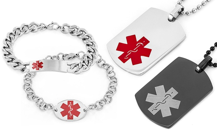 Mens medical alert jewelry groupon goods mens stainless steel medical alert jewelry mozeypictures Images