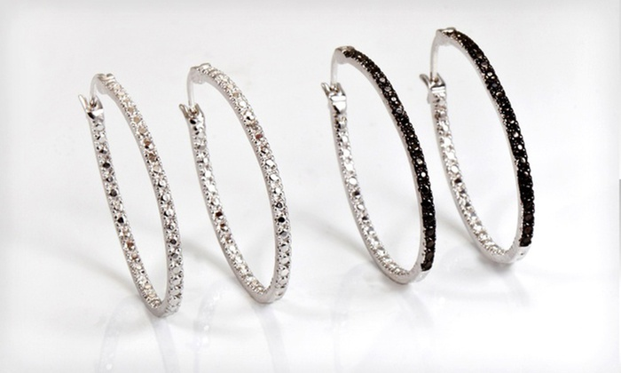 Black or White Diamond Accent Hoop Earrings: Black or White Diamond Accent Hoop Earrings.