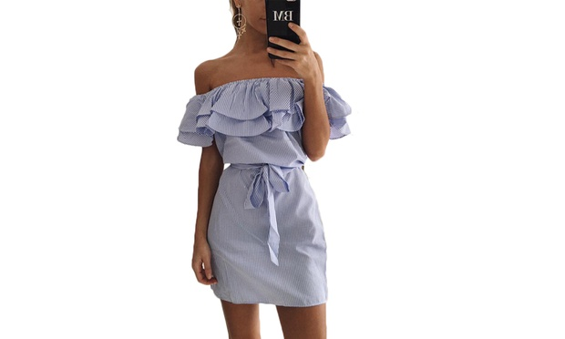 Off the Shoulder Frill Mini Dress: One ($15) or Two ($25)