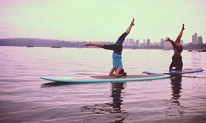 Vancouver Water Adventures - Kitsilano Beach: One, Five, or Ten 90-Minute Paddleboard Yoga Classes at Vancouver Water Adventures (Up to 61% Off)