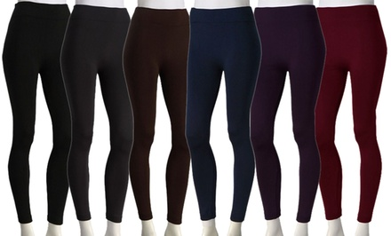 6-Pack of Fleece-Lined Leggings. Multiple Options Available. Free Returns.