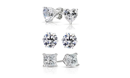 3-Pair Sterling Silver and Swarovski Elements Stud Earring Set