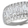 Sterling Silver Baguette and Round Cut CZ Ring