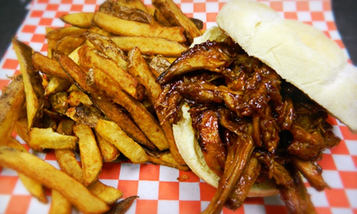 Smok'in Joe's BBQ - Argyle: C$20 for Burger or Pulled-Pork Sandwich Meal for Two with Appetizer, Drinks, and Sides at Smok'in Joe's BBQ (C$41 Value)
