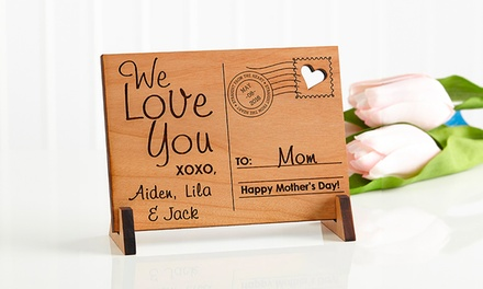 Send Love to Mom Personalized Wood Postcard from PersonalizationMall.com