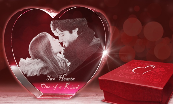 3D Laser Gifts: Medium, Large, or Extra-Large Custom 3D Photo Heart-Shaped Crystal from 3D Laser Gifts (Up to 63% Off)