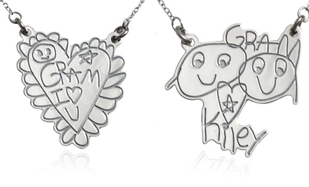 groupon daily deal - Custom Sterling Silver Necklace From Kidz Can Design
