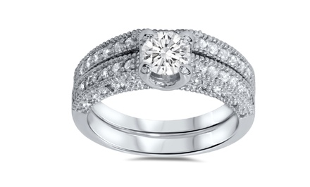 1.10 CTTW Diamond Two-Ring Set in 14K White Gold by Bliss Diamond