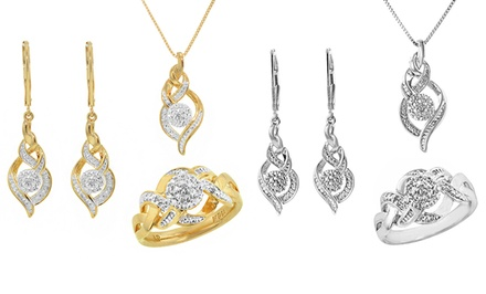 0.10 CTTW Gold- or Silver-Tone 3-Piece Diamond Jewelry Set with Necklace, Earrings, and Ring (Size 7)