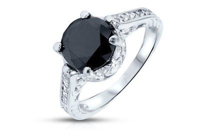 2.69 CTTW Black Diamond Ring in 14K White Gold by Bliss Diamond