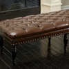 Marcel Tufted Leather Top Ottoman Bench