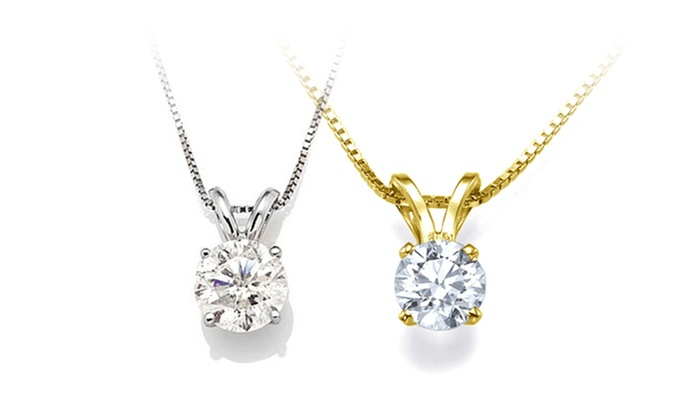 Diamond pendant in 14k gold groupon goods 12 ctw genuine diamond solitaire pendant in 14k solid gold aloadofball Images