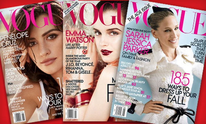 """""""Vogue"""" - Multiple Locations: $8 for 12 Issues of """"Vogue"""" Magazine ($15 Value)"""