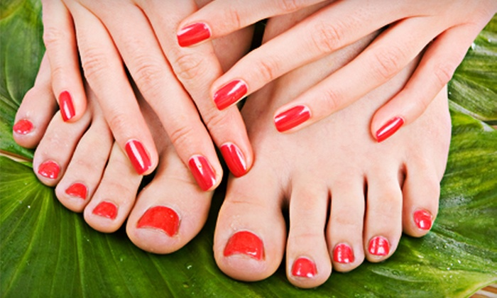 Hotlines Beauty Salon - Ogden: $29 for Manicure with Standard Pedicure or Glitter Shellac Pedicure at Hotlines Beauty Salon ($60 Value)