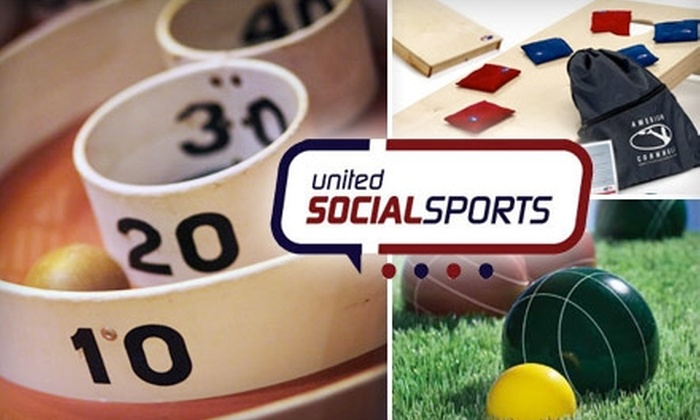United Social Sports - Multiple Locations: $25 for Participation in Bocce, Bar-Skee, Cornhole, or Shuffleboard League from United Social Sports (Up to $50 Value)