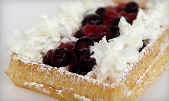 Wannawafel - Downtown: $5 for Any Waffle with Whipped Cream and Fruit Compote Toppings Plus Beverage at Wannawafel (Up to $10.17 Value)