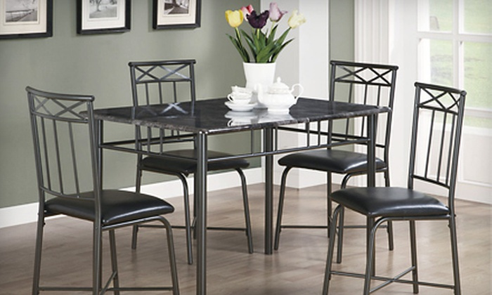 Faux-Marble-Top Five-Piece Dinette Set: $219 for a Faux-Marble-Top Five-Piece Dinette Set. Shipping Included ($392 Total Value). Three Colours Available.