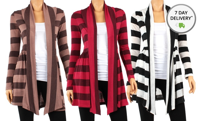 Ruched Hacci Striped Cardigan: Ruched Hacci Striped Cardigan. Multiple Colors Available. Free Returns.