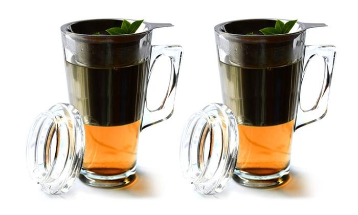 Tea Party Mugs Set of 2: Set of Two Tea Party Mugs with Infusers