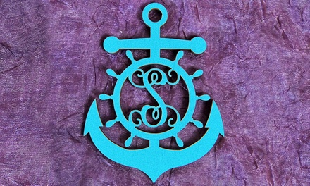 Natural or Painted Wood Monogram Anchor Wheel Sign from aMonogram Art (Half Off)