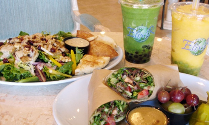 Elixir Organic Cafe - Silverado Ranch: Organic Café-Fare Meal with Beverages and Dessert for Two, Four, or Six at Elixir Organic Cafe (Up to 61% Off)