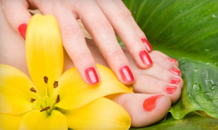 Hoy P'loy Nail Emporium - Gulf Stream: Acrylic, Standard, or Gel Mani-Pedi Package at Hoy P'loy Nail Emporium in Boca Raton (Up to 51% Off)