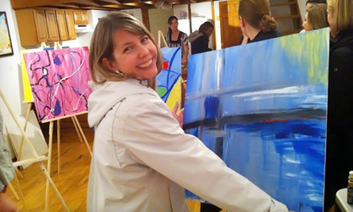 Sherwin's Gallery - Lakeview: Abstract-Painting Class with Wine for One, Two, or Four at Sherwin's Gallery (Up to 59% Off)