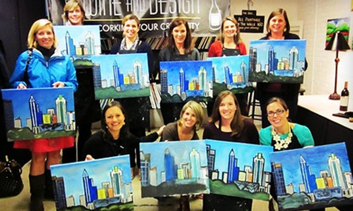 51 Off Byob Art Class At Wine And Design Wine And Design Groupon