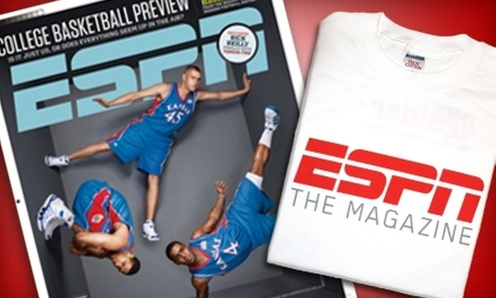 "ESPN The Magazine: $13 for a One-Year Subscription to ""ESPN The Magazine"" Plus an ESPN T-shirt ($26 Value)"