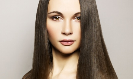 Color-and-Haircut Package or Keratin Treatment at Pure Glo Aveda Salon (Up to 62% Off). Two Options Available.