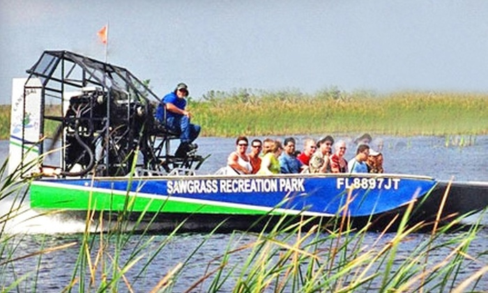 Sawgrass Recreation Park - Weston: Everglades Airboat-Tour Rides for Two at Sawgrass Recreation Park in Weston. Two Options Available.
