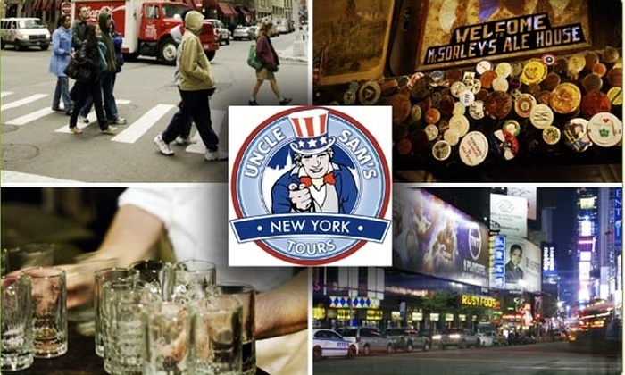 Uncle Sam's New York - New York City: $25 Pub Crawl Including Three Beers ($50 Value)