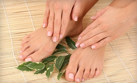 Deluxe Mani-Pedi in October (a $60 value) - Nail Enhancements at The Shoppe Hair Salon in Niles