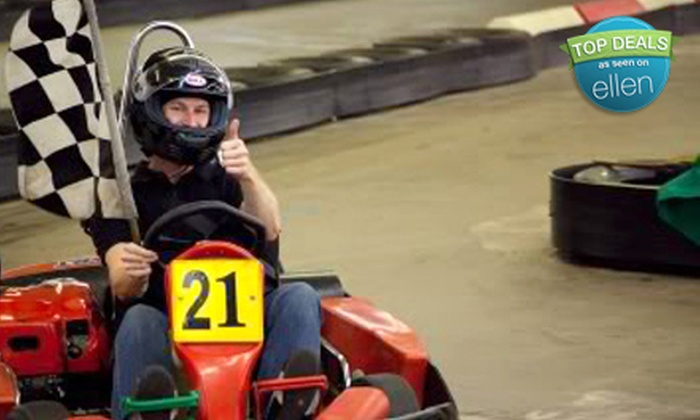Track 21 - Houston: $26 for Indoor Kart Races, Laser Tag, and Soda for Two at Track 21 (Up to $56.70 Value)