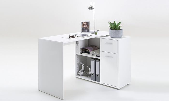 flexi corner desks with storage groupon goods. Black Bedroom Furniture Sets. Home Design Ideas