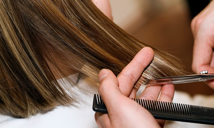Haircut, Blow-Dry, Color, and Moroccanoil at Pure Platinum Salon (67% Off)