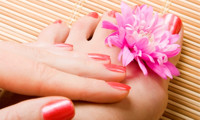 Sarah at Home Grown Hair - Guthrie: One or Two Mani-Pedis from Sarah at Home Grown Hair (Up to 55% Off)