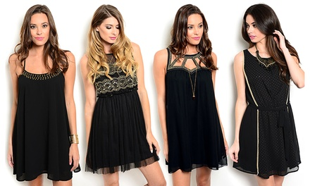 Women's Black-and-Gold Chiffon Dresses