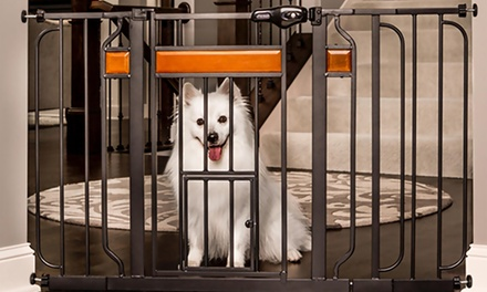 Extra-Wide Metal Pet Gate with Walk-Through Door